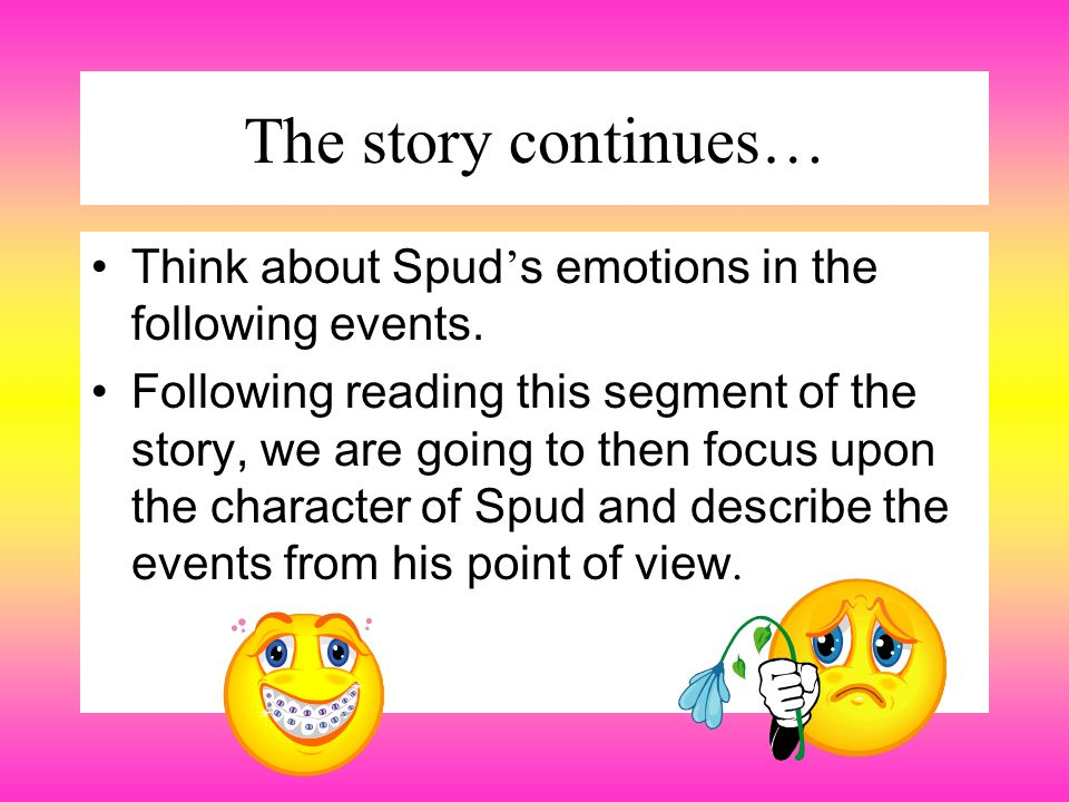 The story continues… Think about Spud's emotions in the following events.