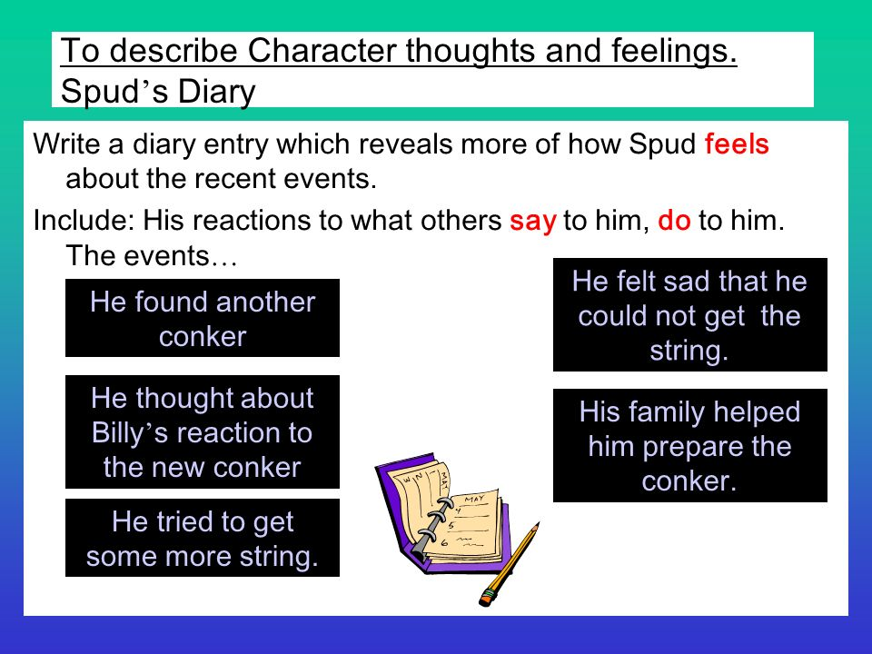 To describe Character thoughts and feelings. Spud's Diary
