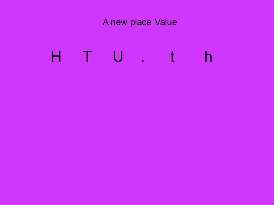 A new place Value H T U . t h