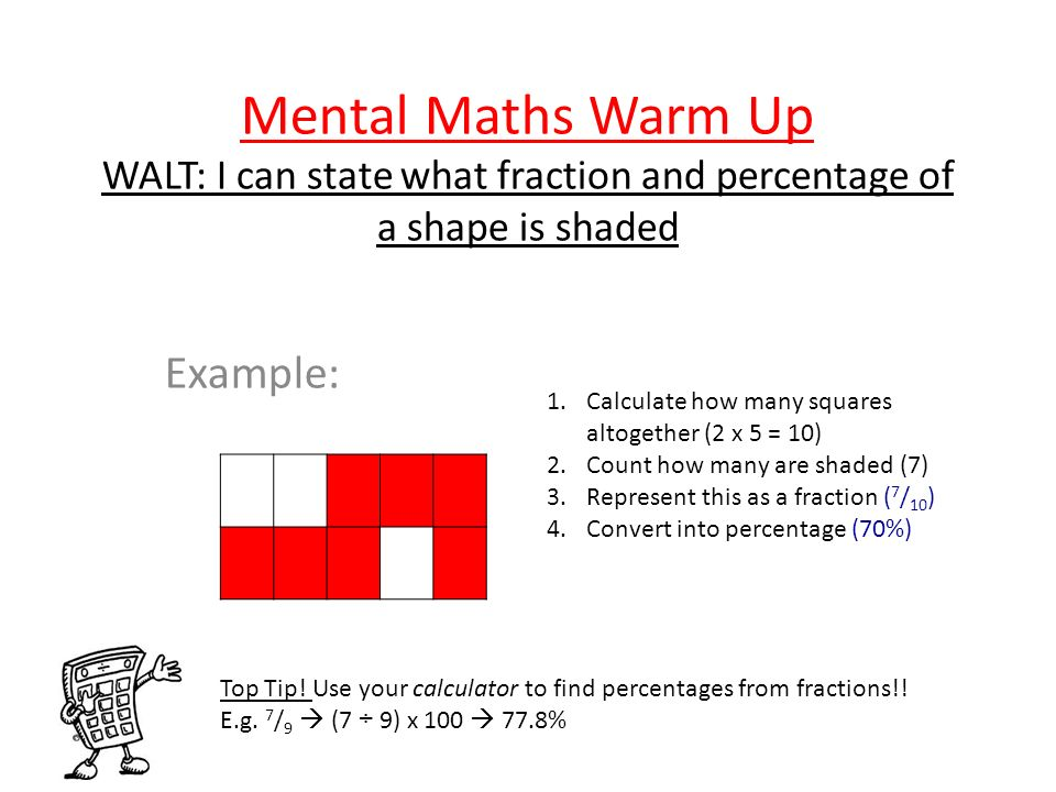Mental Maths Warm Up WALT: I can state what fraction and percentage of a shape is shaded