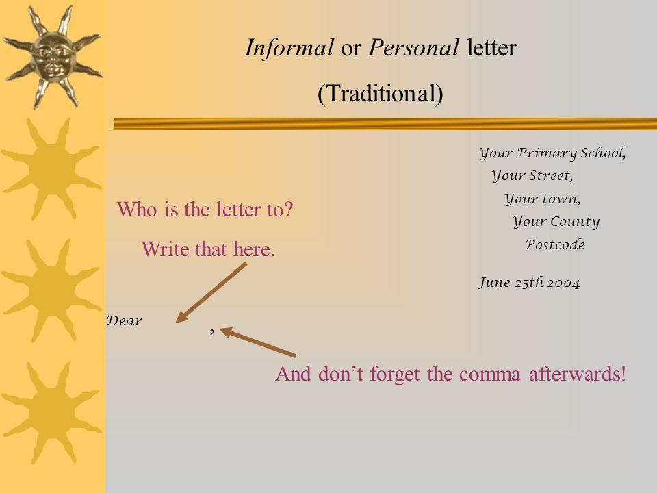 Informal or Personal letter