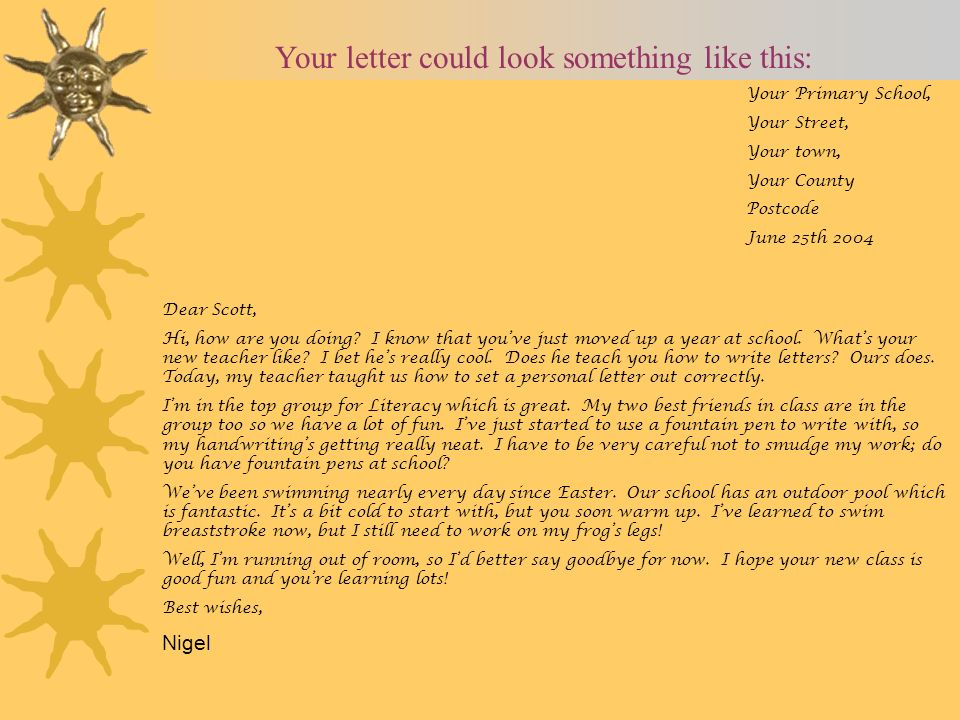 Your letter could look something like this: