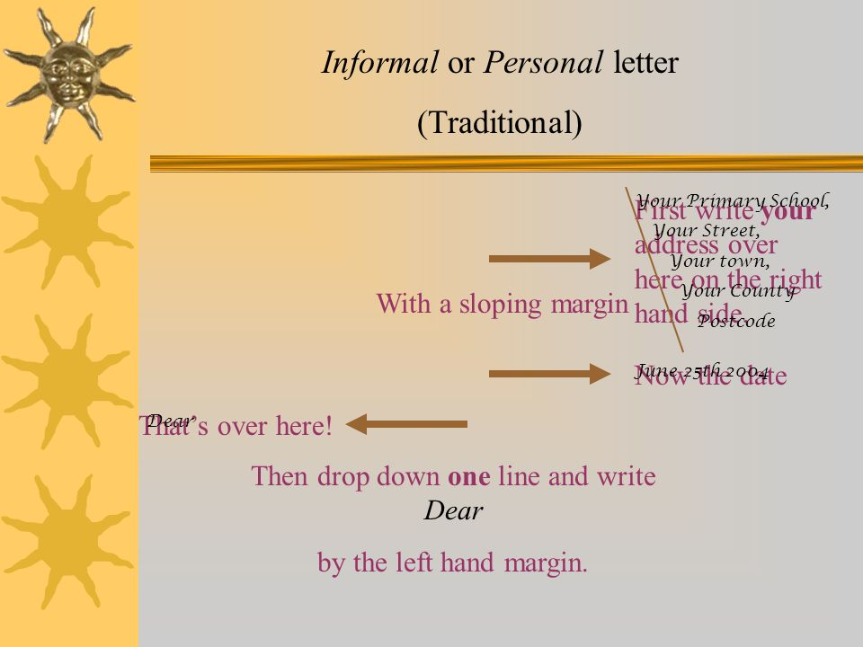 Informal or Personal letter (Traditional)