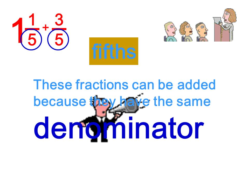 1 denominator fifths 1 5 3 5 These fractions can be added