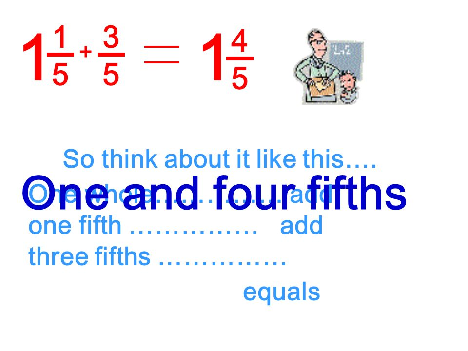 1 1 One and four fifths 1 5 3 5 4 5 So think about it like this….