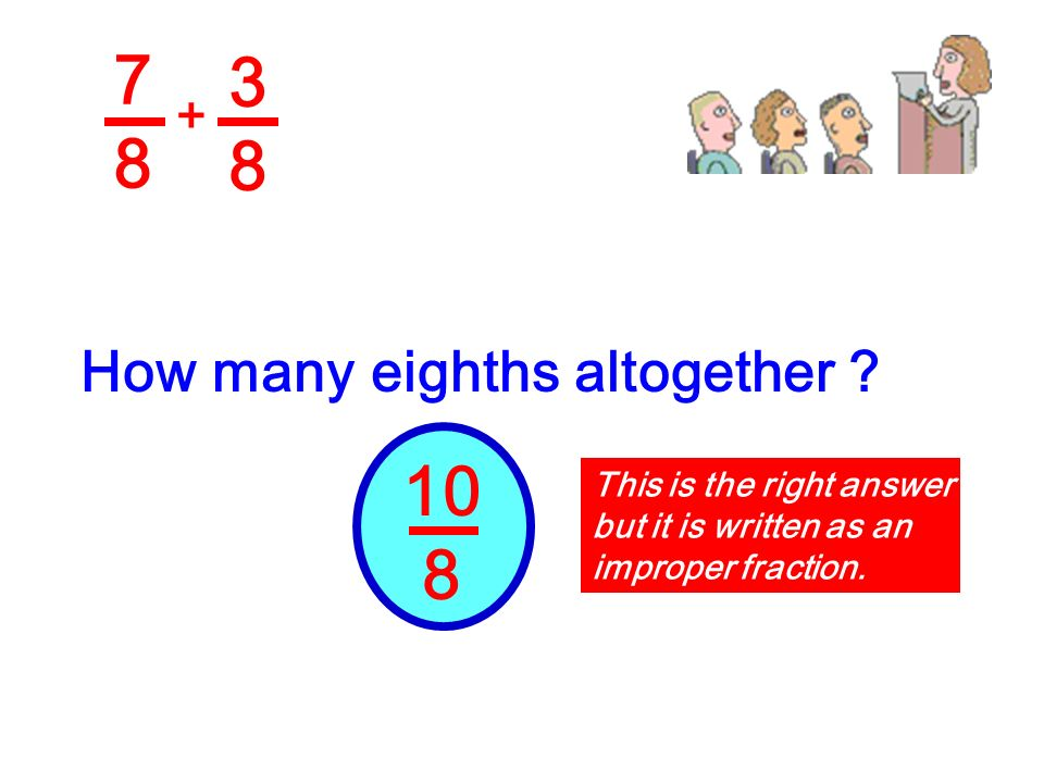 7 3 8 8 10 8 How many eighths altogether + This is the right answer