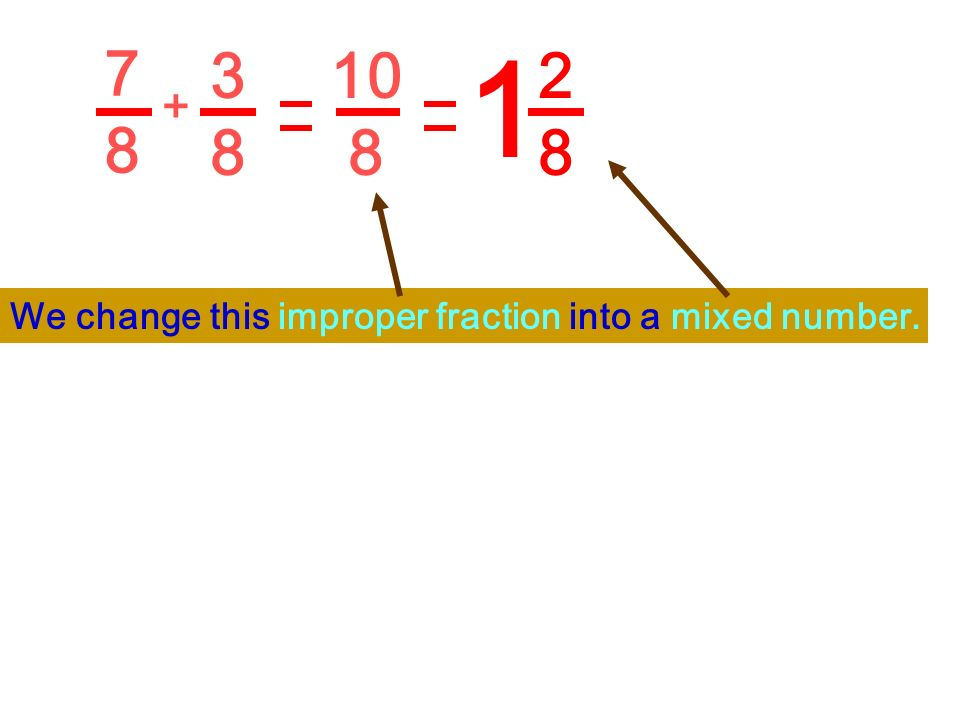 7 8 1 3 8 10 8 2 8 + We change this improper fraction into a mixed number.