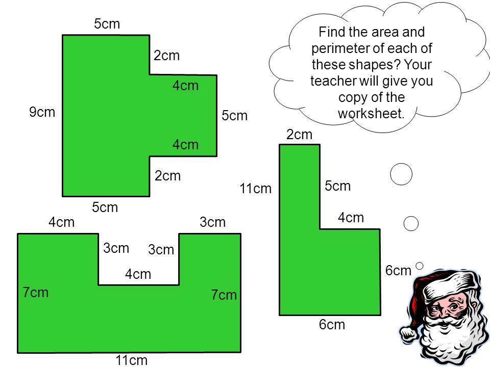Find the area and perimeter of each of these shapes