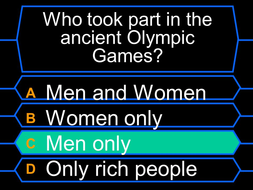 Who took part in the ancient Olympic Games
