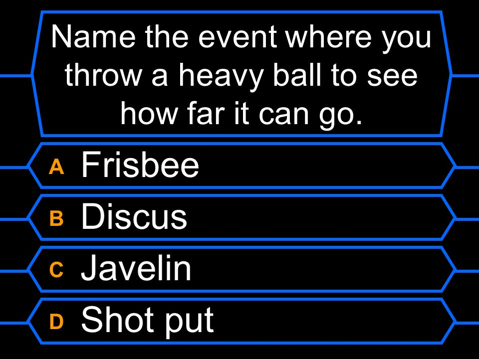 Name the event where you throw a heavy ball to see how far it can go.
