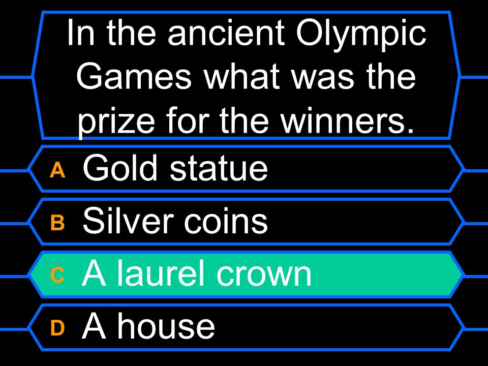 In the ancient Olympic Games what was the prize for the winners.