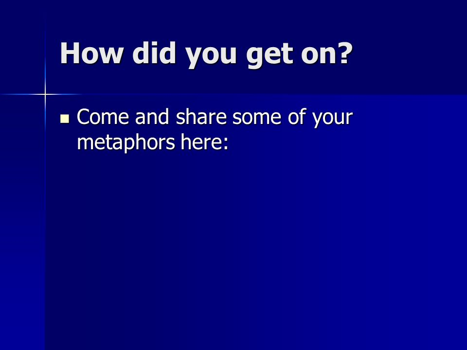 How did you get on Come and share some of your metaphors here: