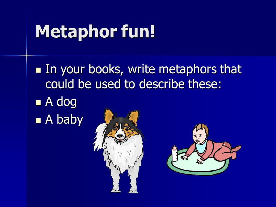 Metaphor fun! In your books, write metaphors that could be used to describe these: A dog A baby