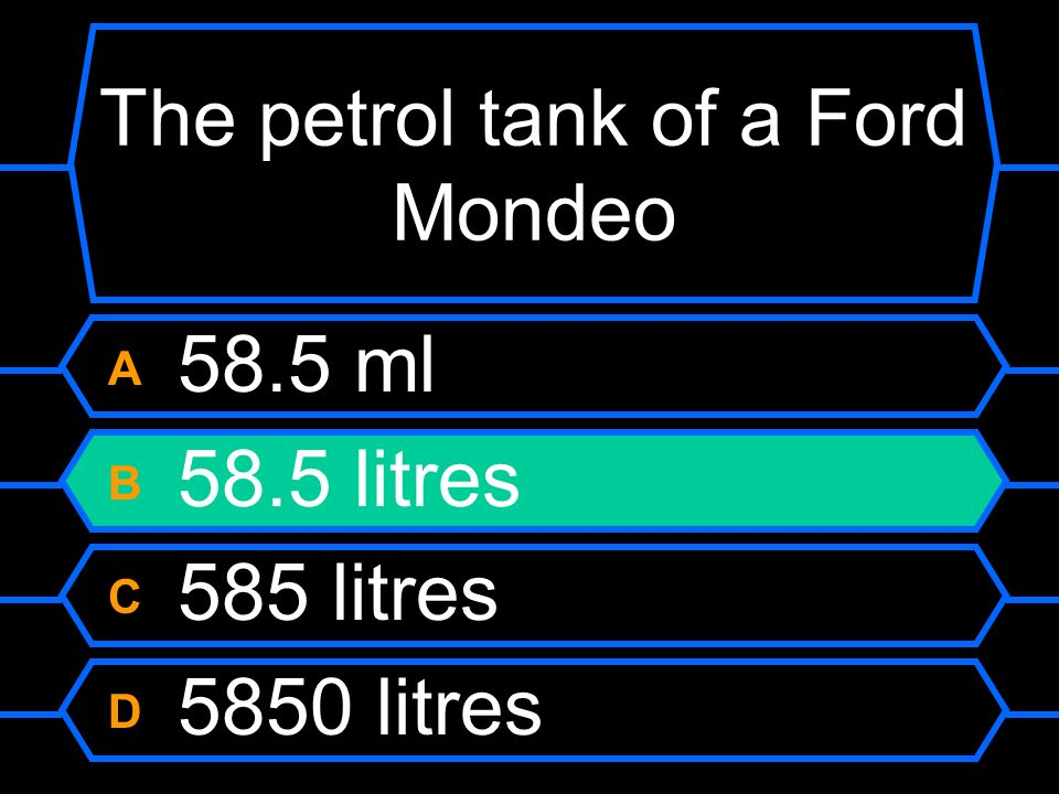 The petrol tank of a Ford Mondeo