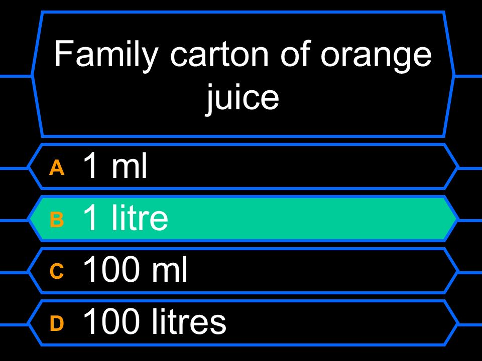 Family carton of orange juice