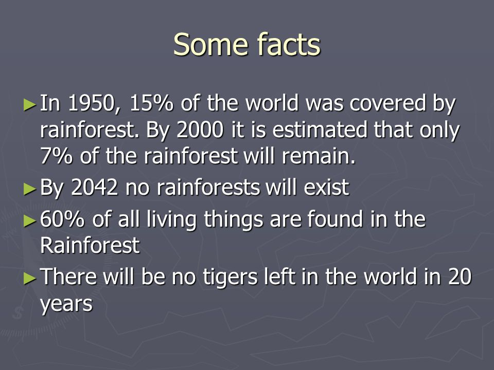 Some factsIn 1950, 15% of the world was covered by rainforest. By 2000 it is estimated that only 7% of the rainforest will remain.