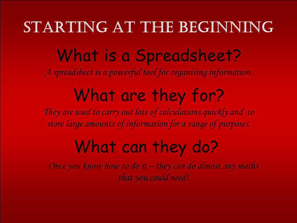 Starting at the Beginning