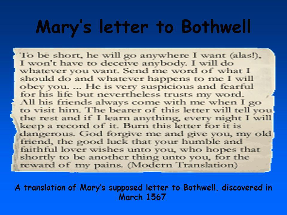 Mary's letter to Bothwell