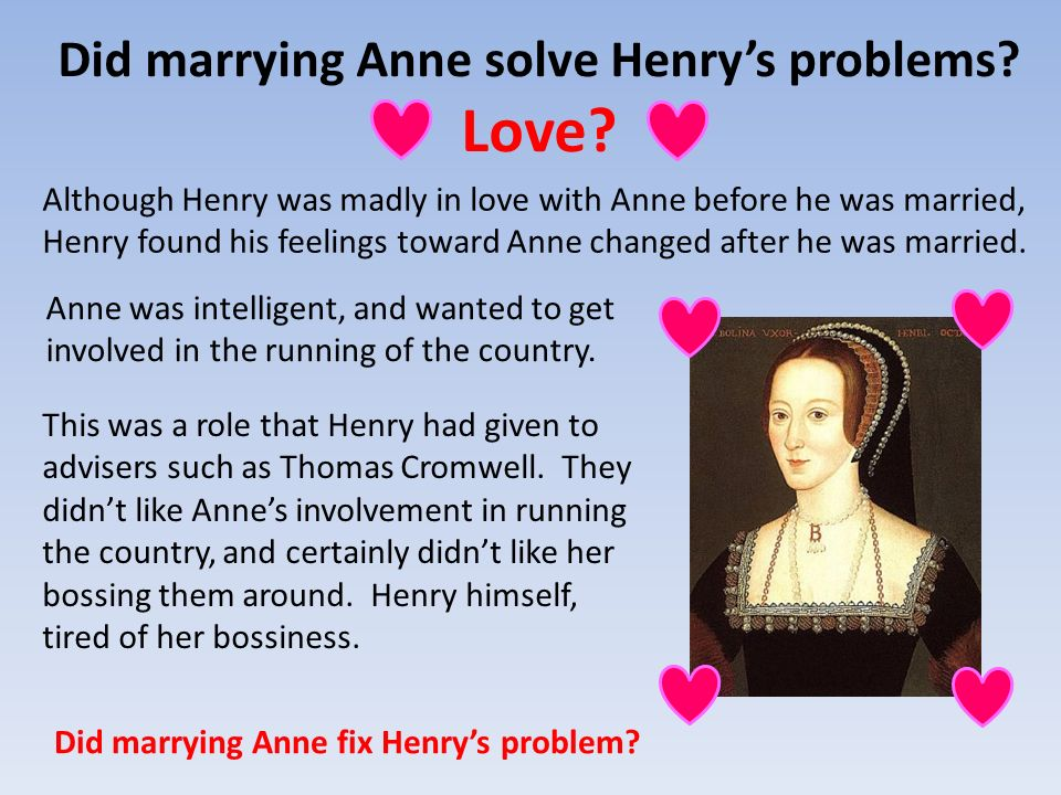 Did marrying Anne solve Henry's problems Love