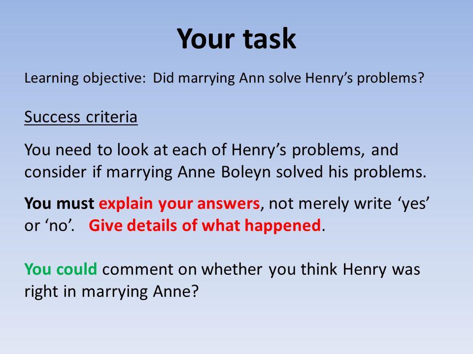 Your task Success criteria