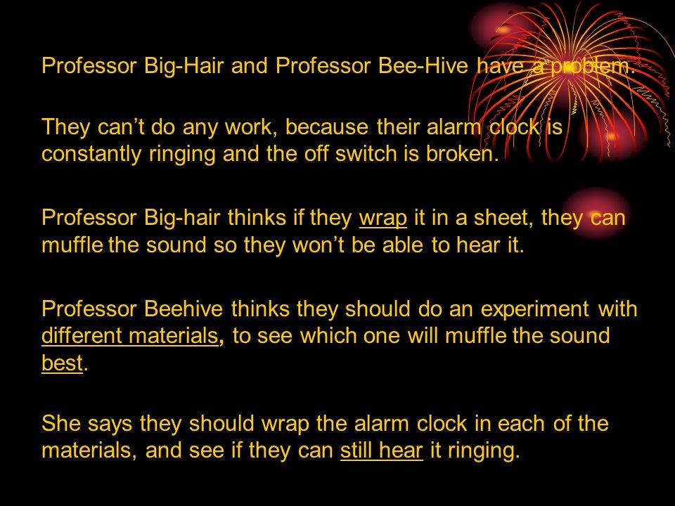 Professor Big-Hair and Professor Bee-Hive have a problem.
