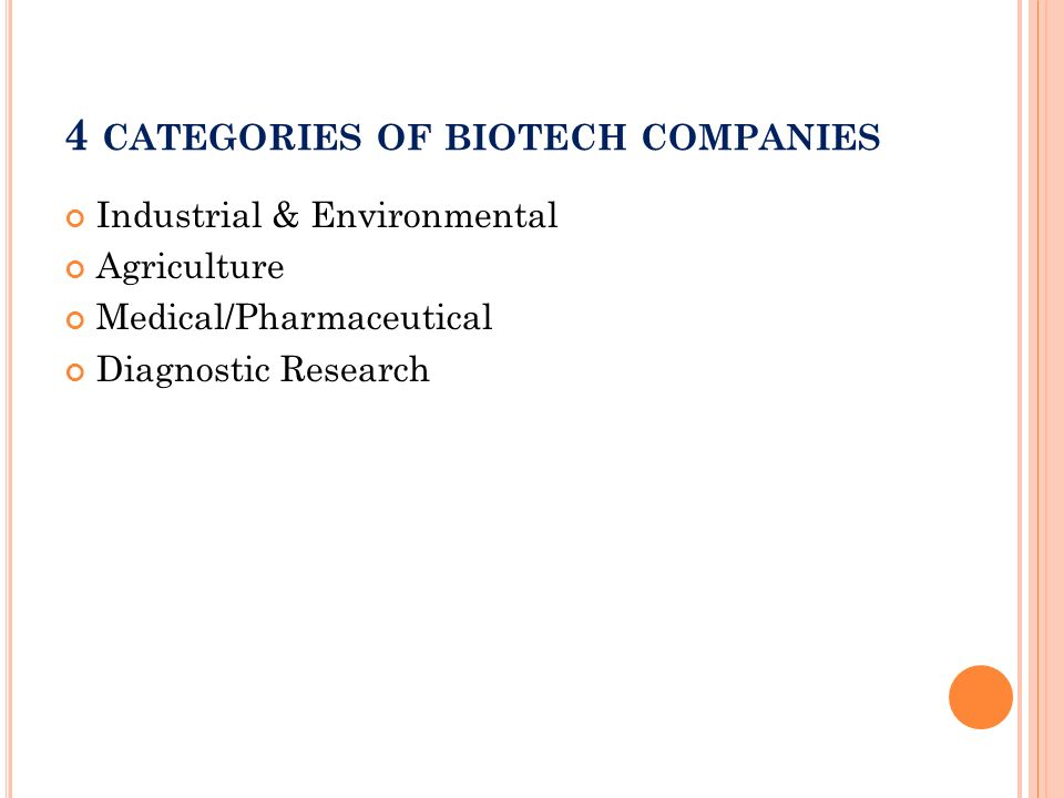 4 categories of biotech companies