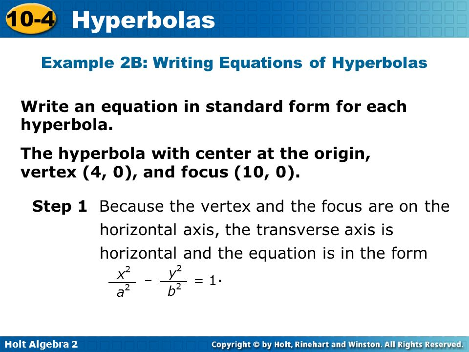Example 2B: Writing Equations of Hyperbolas