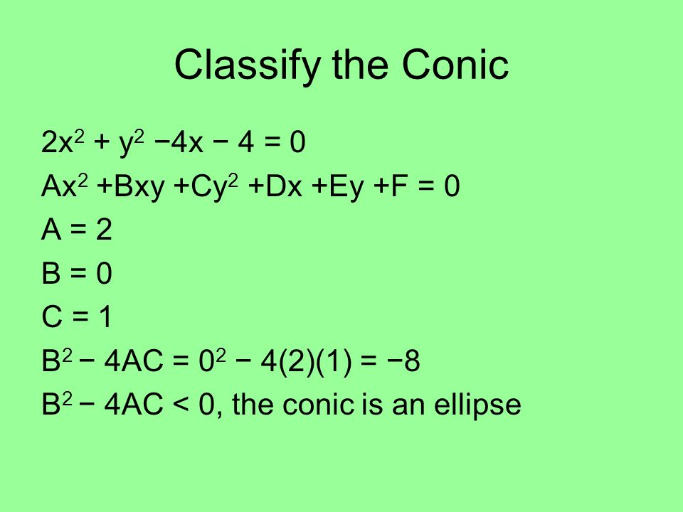 Classify the Conic 2x2 + y2 −4x − 4 = 0 Ax2 +Bxy +Cy2 +Dx +Ey +F = 0
