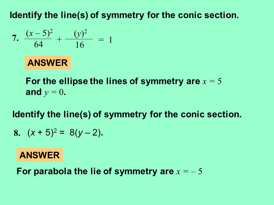 Identify the line(s) of symmetry for the conic section.