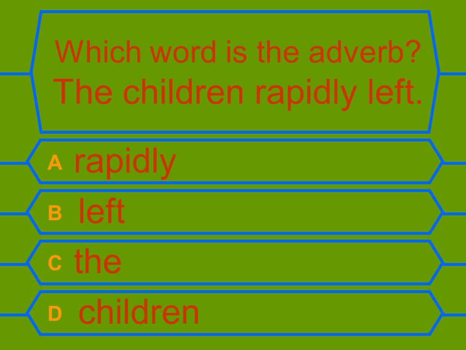 Which word is the adverb The children rapidly left.