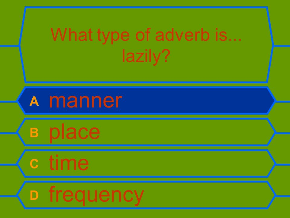 What type of adverb is... lazily