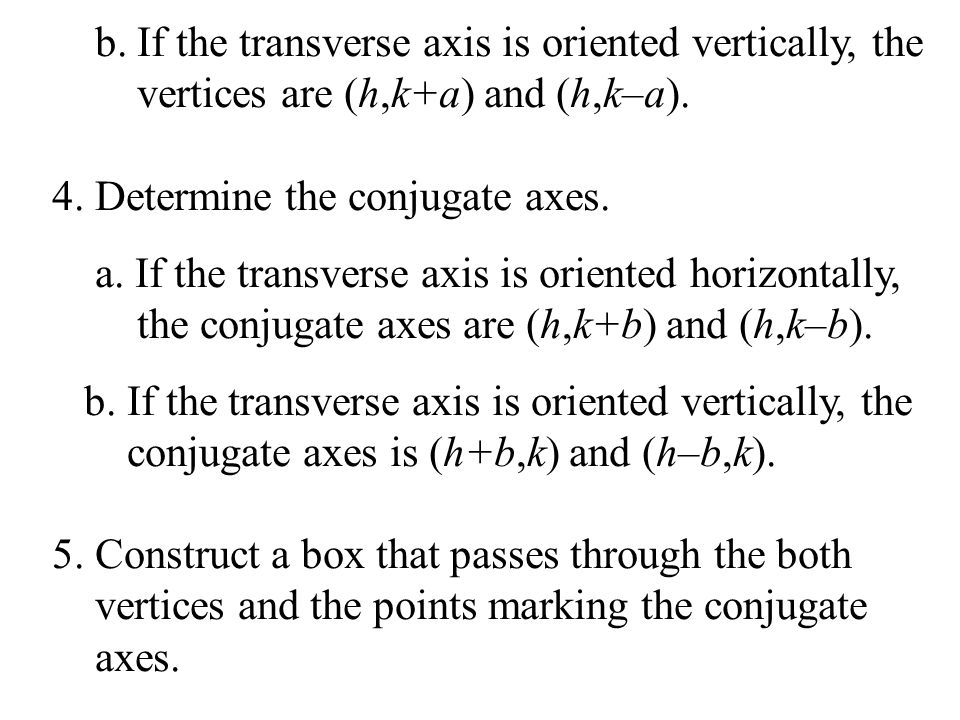 b. If the transverse axis is oriented vertically, the