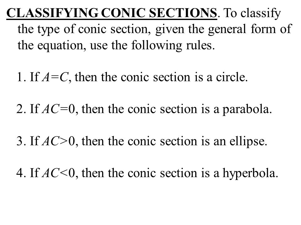 CLASSIFYING CONIC SECTIONS
