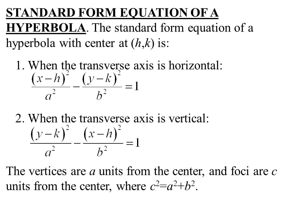 STANDARD FORM EQUATION OF A HYPERBOLA