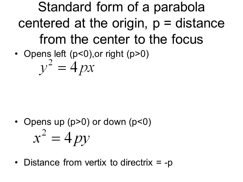 Standard form of a parabola centered at the origin, p = distance from the center to the focus