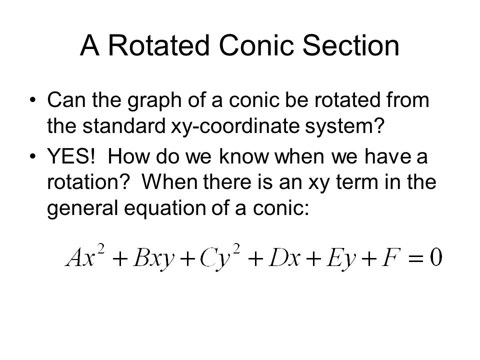A Rotated Conic Section