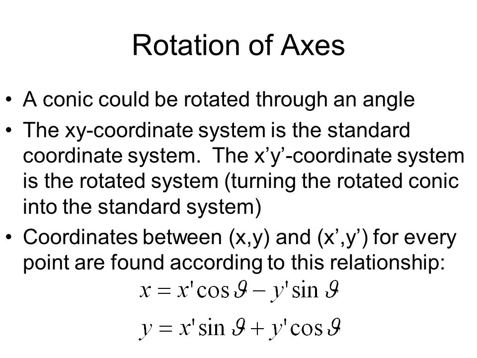 Rotation of Axes A conic could be rotated through an angle