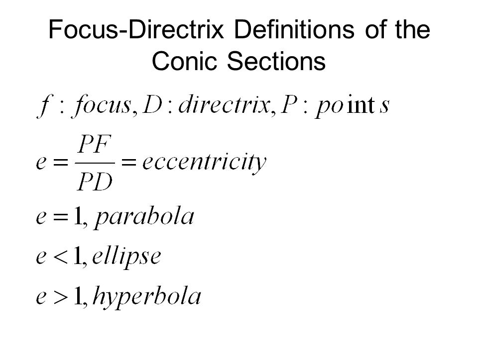 Focus-Directrix Definitions of the Conic Sections