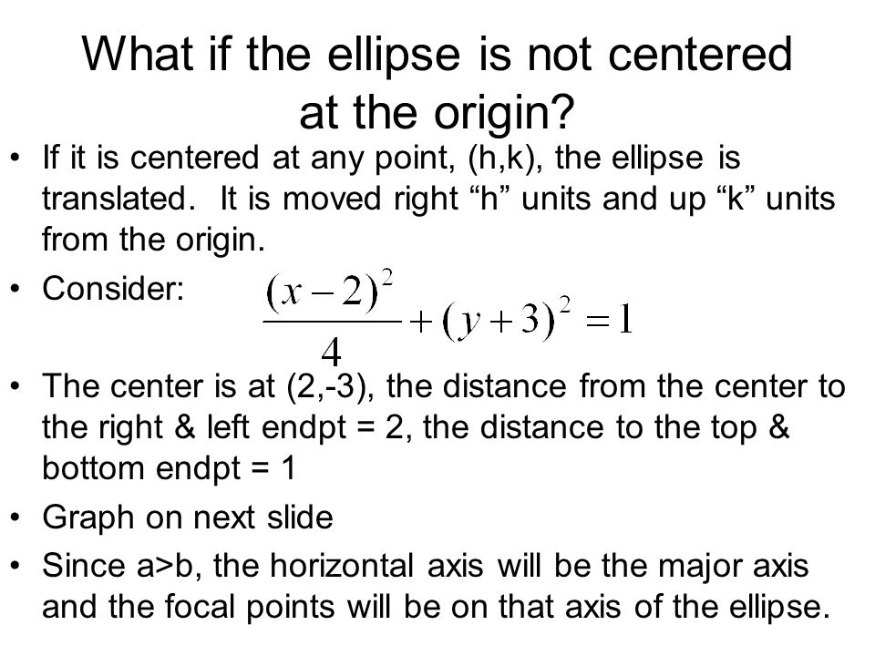 What if the ellipse is not centered at the origin