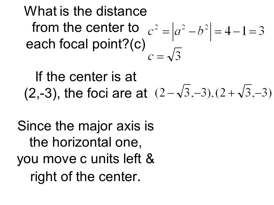 What is the distance from the center to each focal point