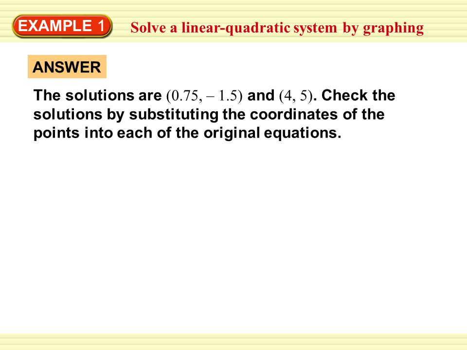 how to solve a linear quadratic system by substitution