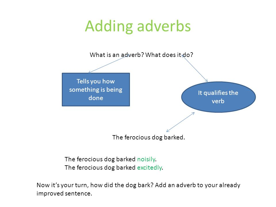 Adding adverbs What is an adverb What does it do