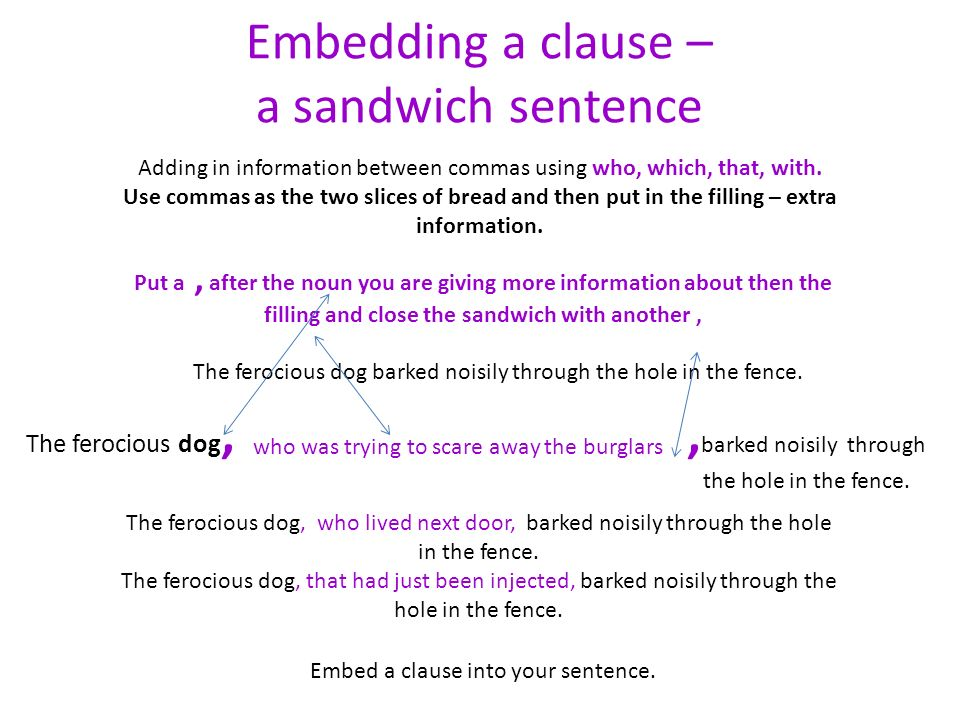 Embedding a clause – a sandwich sentence