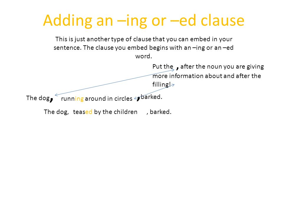 Adding an –ing or –ed clause