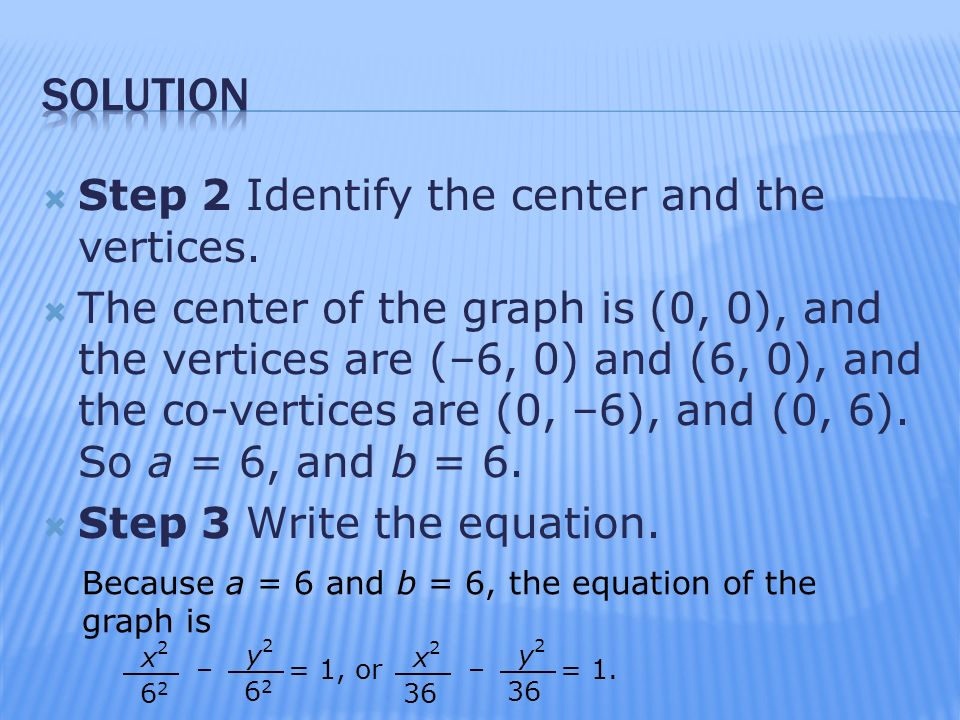 solution Step 2 Identify the center and the vertices.