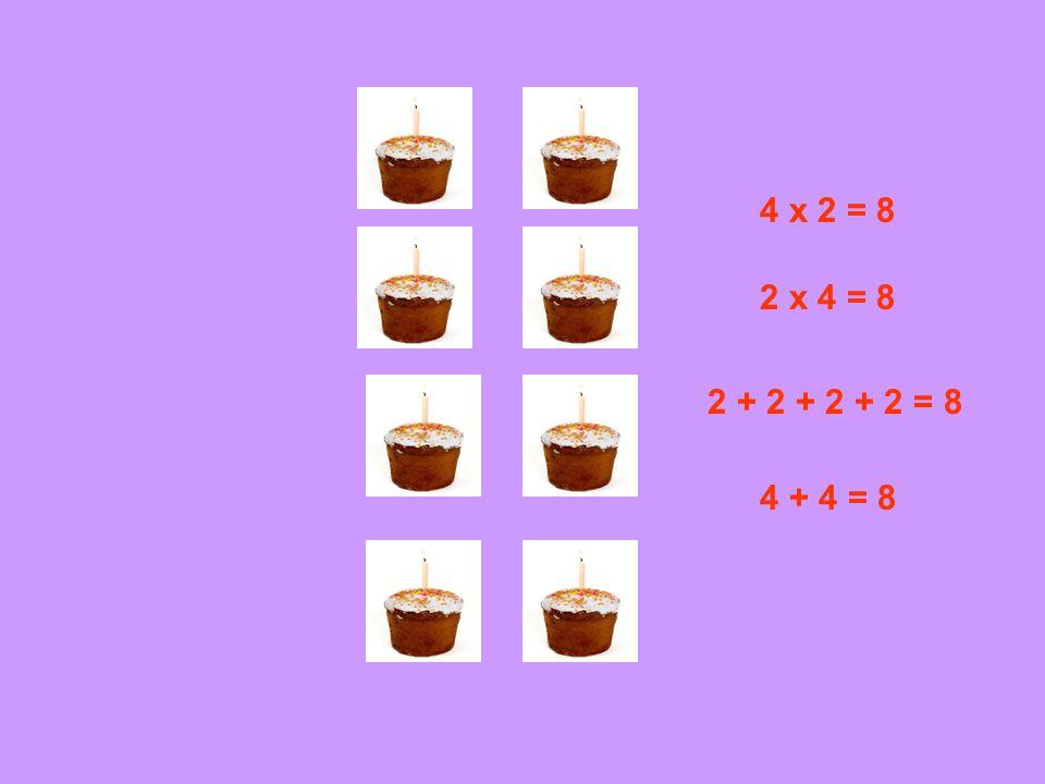 4 x 2 = 8 2 x 4 = 8 2 + 2 + 2 + 2 = 8 4 + 4 = 8
