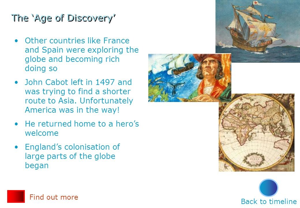The 'Age of Discovery' Other countries like France and Spain were exploring the globe and becoming rich doing so.