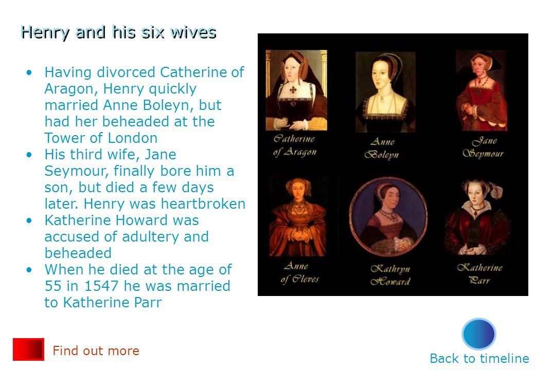 Henry and his six wives Having divorced Catherine of Aragon, Henry quickly married Anne Boleyn, but had her beheaded at the Tower of London.
