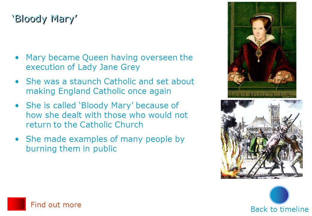 'Bloody Mary' Mary became Queen having overseen the execution of Lady Jane Grey.