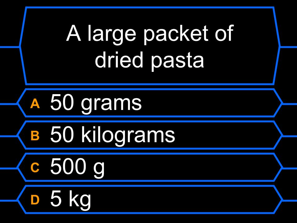 A large packet of dried pasta